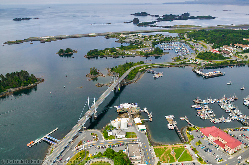Aerial view of the coastal town of Sitka, on Baranof Island, Southeast, Alaska
