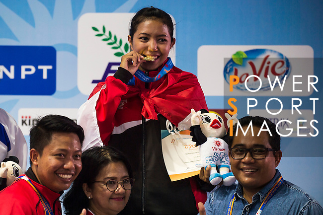 MANIK TRISNA DEWI Wetan of Indonesia celebrates after winning the Gold Prize in the Vovinam Women's Dragon Tiger Form on Day Eight of the 5th Asian Beach Games 2016 at Bien Dong Park on 01 October 2016, in Danang, Vietnam. Photo by Marcio Machado / Power Sport Images