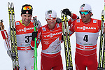 03/01/2014, Dobbiaco, Toblach - 2014 Cross Country Ski World Cup Tour de ski <br /> From left Alex Harvey, Martin Johnsrud Sundby, Petter Northug in action during the Men 35 km Free Pursuit  in Dobbiaco, Toblach, Italy on 03/01/2014.