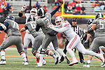 Wisconsin Badgers linebacker Andrew Van Ginkel (17) pressures Illinois Illini quarterback Jeff George, Jr. (3) during an NCAA College Big Ten Conference football game Saturday, October 28, 2017, in Champaign, Illinois. The Badgers won 24-10. (Photo by David Stluka)