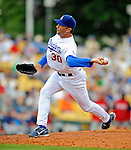 12 March 2008: Los Angeles Dodgers' pitcher Mike Myers on the mound during a Spring Training game against the Washington Nationals at Holman Stadium, in Vero Beach, Florida. The Nationals defeated the Dodgers 10-4 at the historic Dodgertown ballpark. 2008 marks the final season of Spring Training at Dodgertown for the Dodgers, as the team will move to new training facilities in Arizona starting in 2009 after 60 years in Florida...Mandatory Photo Credit: Ed Wolfstein Photo