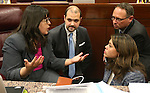 Nevada Assembly Democrats from left, Irene Bustamante Adams, Jakob Stewart, with the Assembly Democratic Caucus, Assembly members Mike Sprinkle and Teresa Benitez-Thompson talk on the Assembly floor during a special session at the Nevada Legislature in Carson City, Nev. on Thursday, Oct. 13, 2016. Lawmakers are considering a measure to expand the convention center and build a domed stadium in Las Vegas. Cathleen Allison/Las Vegas Review-Journal