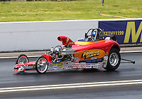 May 30, 2014; Englishtown, NJ, USA; NHRA competition eliminator Kyle Cultrera during qualifying for the Summernationals at Raceway Park. Mandatory Credit: Mark J. Rebilas-