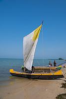 Africa, Madagascar, Ankilibe. Bakuba Hotel. Near the Tropic of Capricorn on the Mozambique channel. Men on fishing boat.