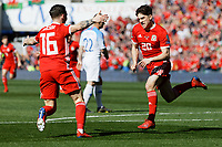 Daniel James of Wales celebrates his opening goal during the UEFA EURO 2020 Qualifier match between Wales and Slovakia at the Cardiff City Stadium, Cardiff, Wales, UK. Sunday 24 March 2019