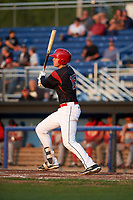 Batavia Muckdogs first baseman Sean Reynolds (15) at bat during a game against the Auburn Doubledays on August 26, 2017 at Dwyer Stadium in Batavia, New York.  Batavia defeated Auburn 5-4.  (Mike Janes/Four Seam Images)