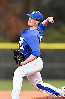 Pitcher Brandon Thomas (34) of the Spartanburg Methodist College Pioneers delivers a pitch in Game 2 of a junior college doubleheader against Southeastern Community College on Wednesday, March 28, 2018, at Mooneyham Field in Spartanburg, South Carolina. (Tom Priddy/Four Seam Images)