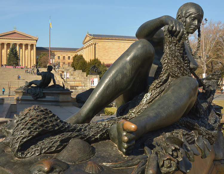 View of the Reclining Indian Fisherwoman statuary, representing the Hudson River, at the Rudolf Siemering created, Eakin Oval plaza across the street from the Philadelphia Museum of Art. in Philadelphia, PA, on Monday, November 27, 2017. Photo by Jim Peppler. Copyright/Jim Peppler-2017.