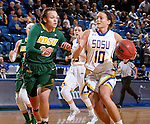 BROOKINGS, SD - FEBRUARY 6:  Kerry Young #10 from South Dakota State drives against Emily Spier #30 from North Dakota State Saturday afternoon at Frost Arena in Brookings. (Photo by Dave Eggen/Inertia)