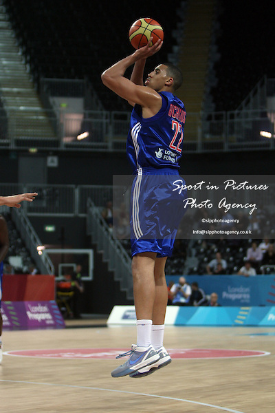 Ryan Richards (Great Britain) shoots. Great Britain v Croatia. The London International Basketball Invitational. London Prepares for Olympics 2012. Basketball Arena, Olympic Park. London. 17/08/2011. MANDATORY Credit Sportinpictures/Paul Chesterton - NO UNAUTHORISED USE - 07837 394578.