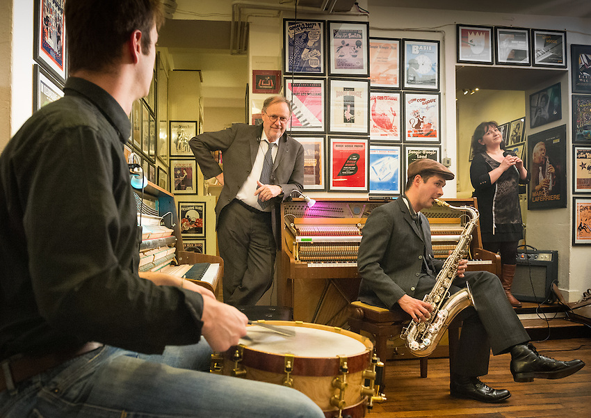 Thomas Racine (drums), Christian Bonnet, and Laure Poasevara during an evening of Boogie Woogie music with five pianos at Paris Boogie Speakeasy, 256 Rue Marcadet, Paris, the club founded and run by Yves Riquet  director of Cervin hosiery and official historian of the Crazy Horse. Musicians include Christian Bonnet (saxophone) of La Maison du Duke, and jazz singer Laure Poasevara. Thursday 4th April 2013.