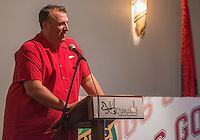 NWA Democrat-Gazette/ANTHONY REYES &bull; @NWATONYR<br /> Bret Bielema, head football coach at the University of Arkansas,  greets fans and speaks Wednesday, Aug. 26, 2015 during the NWA Touchdown Club at Mermaids restaurant in Fayetteville. Bielema spoke about a few of the players, his hopes for the season and took a few questions from the audience.