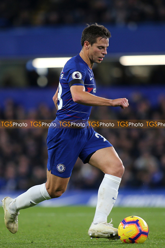 Cesar Azpilicueta of Chelsea in acton during Chelsea vs Crystal Palace, Premier League Football at Stamford Bridge on 4th November 2018