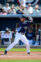 Tampa Bay Rays shortstop Hak-Ju Lee #36 during a Grapefruit League Spring Training game against the Boston Red Sox at Charlotte County Sports Park on February 25, 2013 in Port Charlotte, Florida.  Tampa Bay defeated Boston 6-3.  (Mike Janes/Four Seam Images)