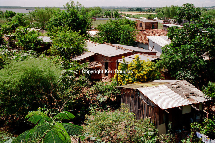 Arial view of shanty town alongside Congressional Building, Asuncion, Paraguay.