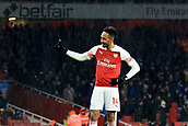 29th January 2019, Emirates Stadium, London, England; EPL Premier League Football, Arsenal versus Cardiff City; Pierre-Emerick Aubameyang of Arsenal reacts as fans sing his name