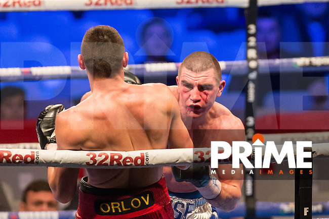 THE VACANT IBF EUROPEAN WELTERWEIGHT CHAMPIONSHIP 12 X 3 Minute Rounds JOHNNY GARTON (right) 10st 6lbs V MIHAIL ORLOV 10st 6lbs 8oz during the Boys are back in town - Frank Warren Boxing event at the Copper Box Arena, London, England on 9 December 2017. Photo by Andy Rowland.