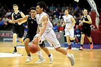 GRONINGEN - Basketbal, Donar - BSW Weert, Martiniplaza,  Dutch Basketball League, seizoen 2017-2018, 28-10-2017,  Donar speler Sean Cunningham met BSW Weert speler Robin van Heukelom