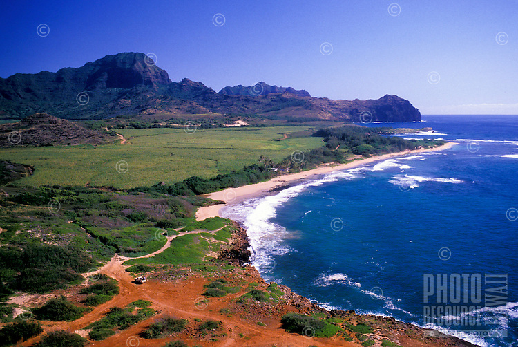 Mahaulepu coastline and Haupu Mountain, near the Hyatt Regency Kauai Resort.