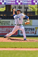 Craig Schlitter (16) of the Hartford Yard Goats delivers a pitch during a game against the Binghamton Rumble Ponies at Dunkin Donuts Park on May 9, 2018 in Hartford, Connecticut. (Gregory Vasil/Four Seam Images)