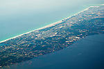 Aerial above Destin and Choctawhatchee Bay; along the Florida panhandle coast