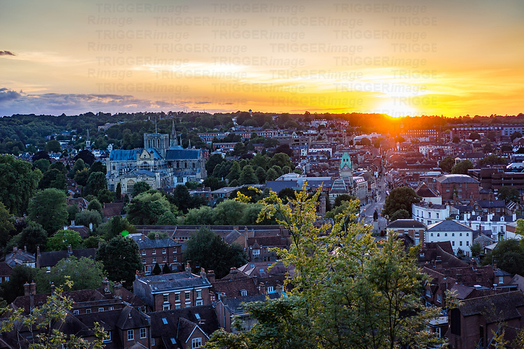 sunset over Winchester in England