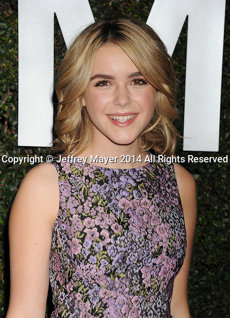 BEVERLY HILLS, CA- OCTOBER 02: Actress Kiernan Shipka arrives at the Michael Kors Hosts Launch Of Claiborne Swanson Frank's 'Young Hollywood' Portrait Book at a private residence on October 2, 2014 in Beverly Hills, California.