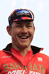 Heinrich Haussler (AUS) Bahrain-Merida team on stage at sign on before the 2019 Gent-Wevelgem in Flanders Fields running 252km from Deinze to Wevelgem, Belgium. 31st March 2019.<br /> Picture: Eoin Clarke | Cyclefile<br /> <br /> All photos usage must carry mandatory copyright credit (© Cyclefile | Eoin Clarke)