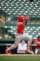 Philadelphia Phillies Carlos De La Cruz (53) follows through on a swing during a Florida Instructional League game against the Baltimore Orioles on October 4, 2018 at Ed Smith Stadium in Sarasota, Florida.  (Mike Janes/Four Seam Images)