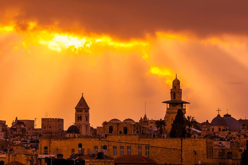 Romanesque bell tower, Lutheran Church of the Redeemer at sunset, Jerusalem, Israel.