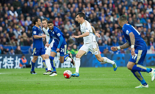 24.04.2016. King Power Stadium, Leicester, England. Barclays Premier League. Leicester versus Swansea. Swansea City midfielder Jack Cork on the attack with the ball.