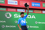 Nairo Quintana (COL) Movistar Team retains the points Green Jersey at the end of Stage 3 of La Vuelta 2019 running 188km from Ibi. Ciudad del Juguete to Alicante, Spain. 26th August 2019.<br /> Picture: Ann Clarke | Cyclefile<br /> <br /> All photos usage must carry mandatory copyright credit (© Cyclefile | Ann Clarke)