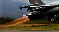 Norwegian F-16 takes off with afterburner. BOLD AVENGER 2007 (BAR 07), a NATO  air exercise at Ørland Main Air Station, Norway. BAR 07 involved air forces from 13 NATO member nations: Belgium, Canada, the Czech Republic, France, Germany, Greece, Norway, Poland, Romania, Spain, Turkey, the United Kingdom and the United States of America.The exercise was designed to provide training for units in tactical air operations, involving over 100 aircraft, including combat, tanker and airborne early warning aircraft and about 1,450 personnel.