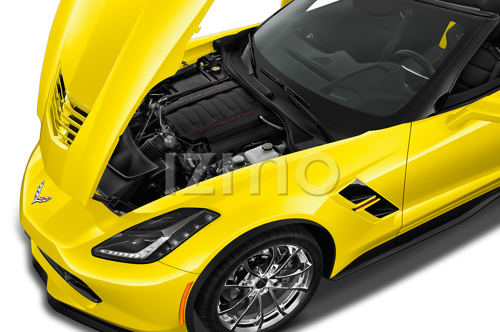 Car Stock 2018 Chevrolet Corvette Grand-Sport-3LT 2 Door Convertible Engine  high angle detail view