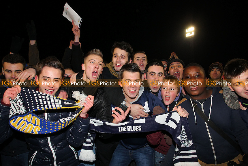 Southend fans celebrate victory - Southend United vs Leyton Orient - Johnstones Paint Trophy Southern Area Final 2nd Leg at Roots Hall, Southend-on-Sea, Essex - 20/02/13 - MANDATORY CREDIT: Gavin Ellis/TGSPHOTO - Self billing applies where appropriate - 0845 094 6026 - contact@tgsphoto.co.uk - NO UNPAID USE.