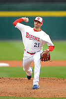 Buffalo Bisons pitcher Justin Germano #21 delivers a pitch during the second game of a double header against the Lehigh Valley IronPigs on June 7, 2013 at Coca-Cola Field in Buffalo, New York.  Lehigh Valley defeated Buffalo 4-0.  (Mike Janes/Four Seam Images)