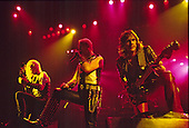 Judas Priest - guitarist KK Downing, Rob Halford, Glenn Tipton - performing live the Metal Conqueror Tour at the Jaap Edenhall in Amsterdam Netherlands - 27 Jan 1984.  Photo credit: IconicPix