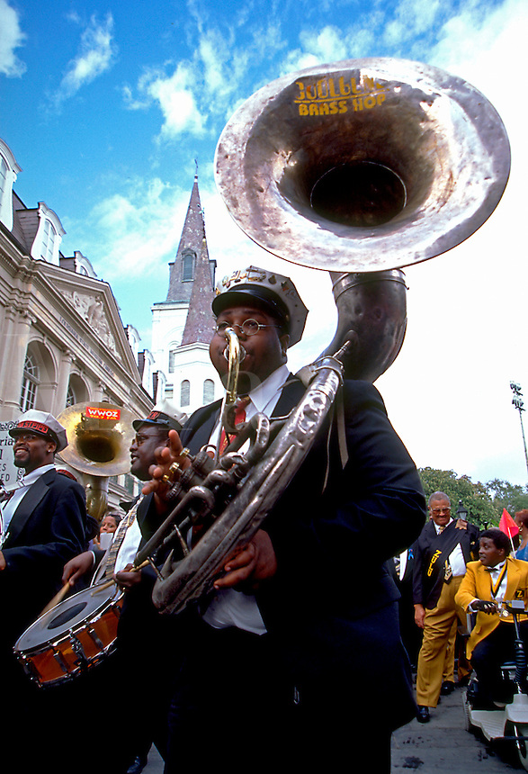 TUBA PLAYER AT A JAZZ FUNERAL IN OLD NEW ORLEANS