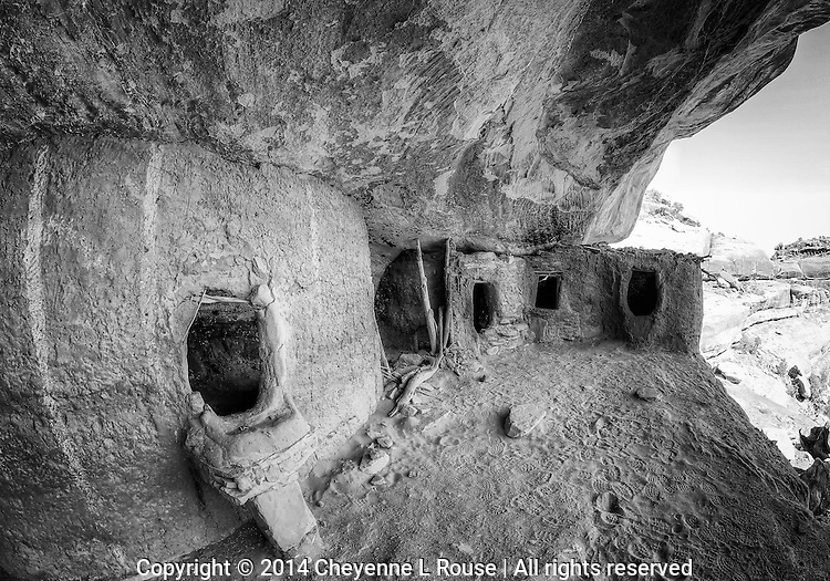 Moon House Dwellings -BW - Utah - Cedar Mesa