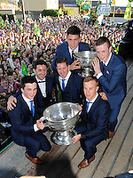 27-9-2014:  Kerry players, Kieran O'Leary, Fionn Fitzgerald, Aidan O'Mahony Paul Murphy, Liam Kearney and Shane Ryan  at the Kerry Team homecoming in Rathmore, County Kerry last evening.<br /> Picture by Don MacMonagle