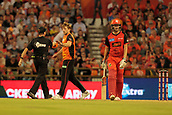 8th January 2018, The WACA, Perth, Australia; Australian Big Bash Cricket, Perth Scorchers versus Melbourne Renegades; David Willey of the Perth Scorchers takes his cap for the last time bowling for the Scorchers as goes off to play in the ODI'S for England