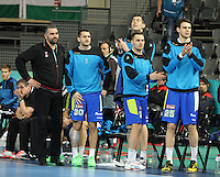 21.01.2013 Barcelona, Spain. IHF men's world championship, Eighth Final. Picture show Slovenian brench in action during game slovenia vs Egypt at Palau St Jordi