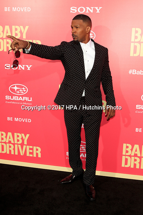 """LOS ANGELES - JUN 14:  Jamie Foxx at the """"Baby Driver"""" Premiere at the The Theater at Ace Hotel on June 14, 2017 in Los Angeles, CA"""