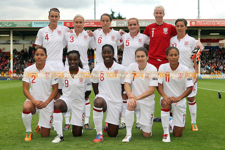 England players pose for a team photo ahead of kick-off - England Women vs Croatia Women - UEFA Womens Euro 2013 Group 6 Qualifier Football at Banks's Stadium, Walsall - 19/09/12 - MANDATORY CREDIT: Gavin Ellis/TGSPHOTO - Self billing applies where appropriate - 0845 094 6026 - contact@tgsphoto.co.uk - NO UNPAID USE.
