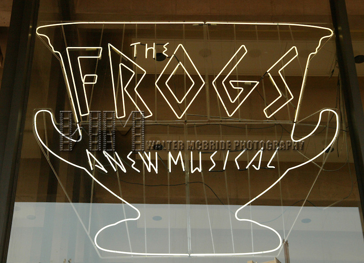 Theatre Marquee.Opening Night for FROGS  A New Musical at the Lincoln Center Theater at the Vivian Beaumont. The Music and Lyrics are by Stephen Sondheim with Direction and Choreography by Susan Stroman and Starring Nathan Lane.July 22, 2004.© Walter McBride /  .