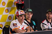 31st October 2019; Sepang Circuit, Sepang Malaysia; MotoGP Malaysia, Practice Day;  Marc Marquez, Fabio Quartararo, Cal Crutchlow during the press conference - Editorial Use