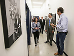 John Corba, right, assistant director of DePaul Cinespace Studios, leads the Estebans and other university officials through the university's studios and classroom facilities Tuesday, Aug. 1, 2017, at the Cinespace Chicago Film Studios. Joining them was Alex Pissios, president of Cinespace Chicago. (DePaul University/Jamie Moncrief)