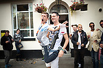 "© Joel Goodman - 07973 332324 . 22/08/2014 .  Manchester , UK . L-R John Wayne (20 from Ancoats) and Brian Dolan (27 from Weaste) on Canal Street . Manchester Pride "" Big Weekend "" in Manchester's "" Gay Village "" today ( 22nd August 2014 ) . Photo credit : Joel Goodman"