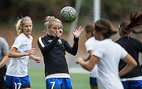 Seattle, WA - Saturday Aug. 27, 2016: Elli Reed prior to a regular season National Women's Soccer League (NWSL) match between the Seattle Reign FC and the Portland Thorns FC at Memorial Stadium.