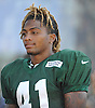 Buster Skrine #41 of the New York Jets talks to a reporter after a day of team training camp at Atlantic Health Jets Training Center in Florham Park, NJ on Wednesday, Aug. 3, 2016.